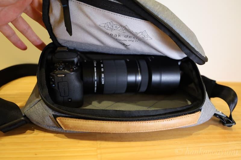 EFs55-250mmをkissmにつけてエブリデイスリング5l に収納