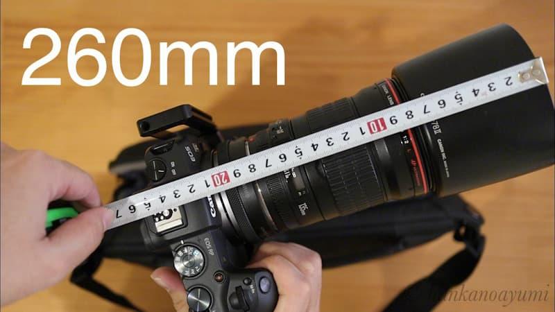 EF135mmのフード付きの全長