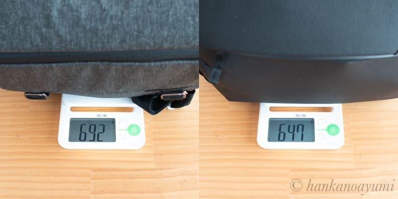 ピークデザインのエブリデイスリング10L,V1とV2の重量の違い