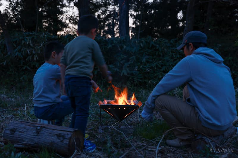 子供と焚火台