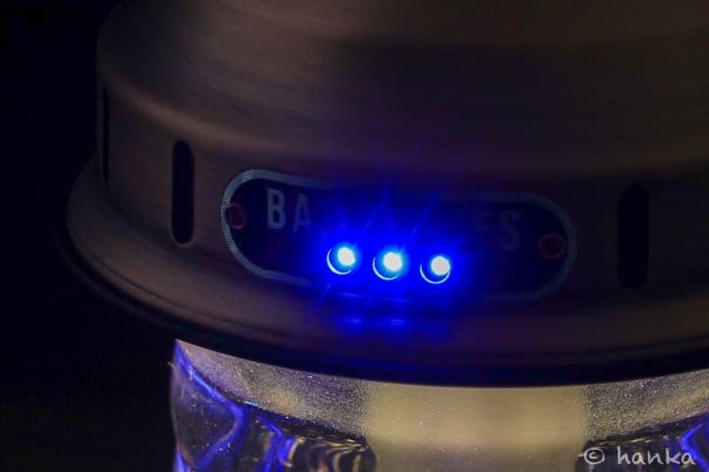ビーコンライトの青いバッテリーランプ