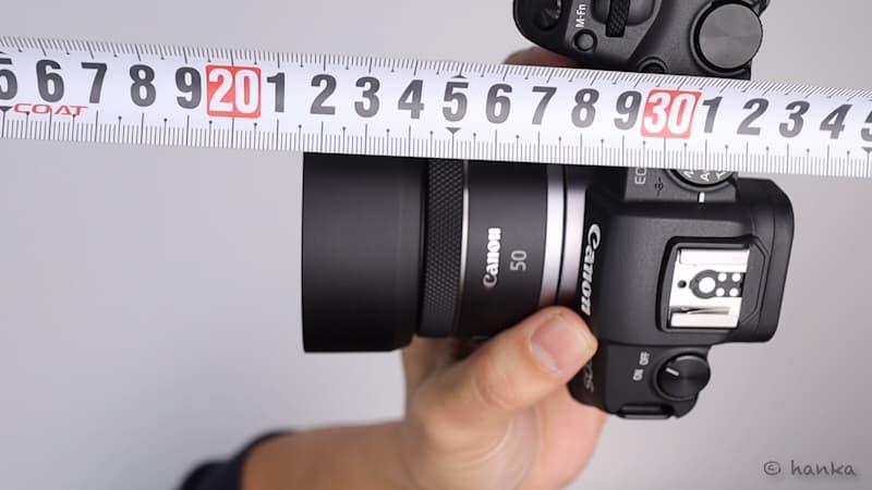 RF50mmF1.8STM,フード付き全長