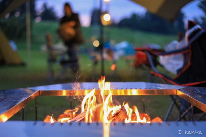 ジカロテーブル,焚き火
